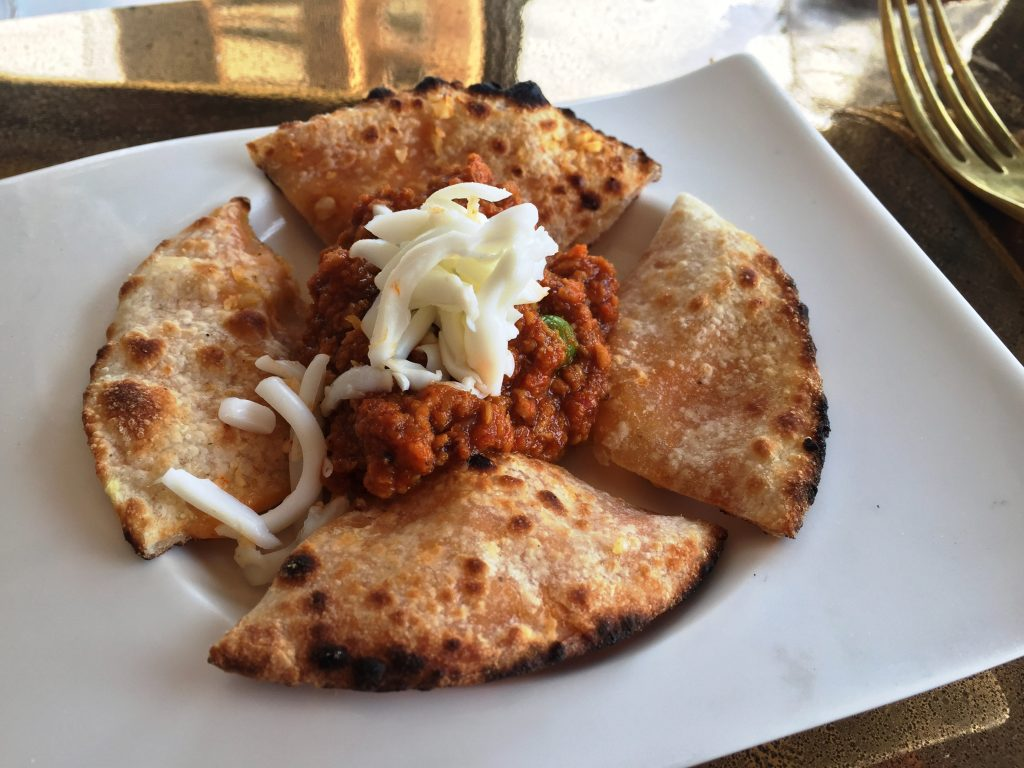 Masala Cheese Garlic Naan with Kheema