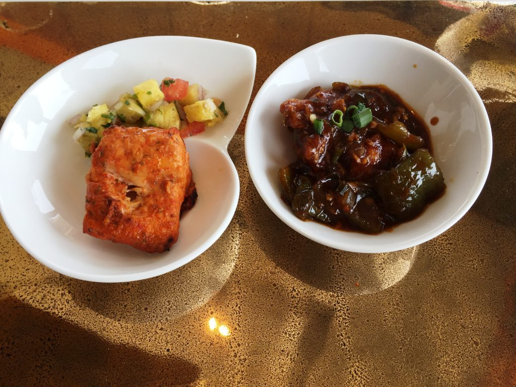 Tikka And Manchurian - Fish Tikka With Pinapple Kachumbar Salsa and Chicken Manchurian
